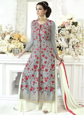 Grey and Off White Faux Georgette Trendy Designer Salwar Suit