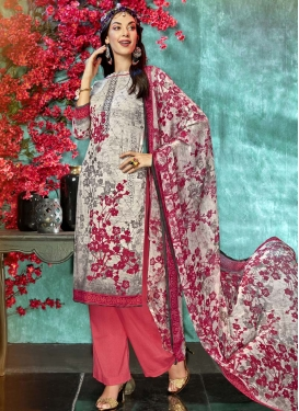 Grey and Off White Palazzo Straight Salwar Suit For Casual