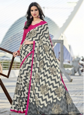 Grey and Off White Print Work Contemporary Saree