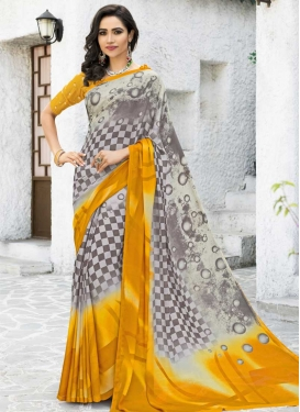Grey and Off White Traditional Saree
