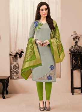 Grey and Olive Cotton Churidar Salwar Kameez For Casual