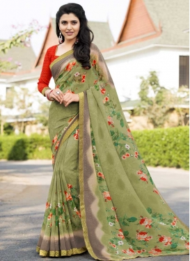 Grey and Olive Digital Print Work Traditional Designer Saree