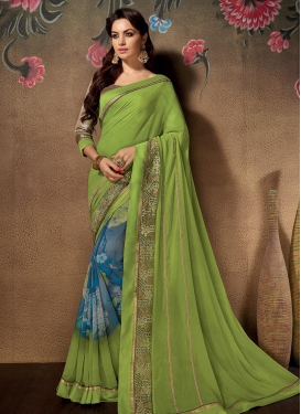 Grey and Olive Faux Georgette Trendy Classic Saree For Ceremonial