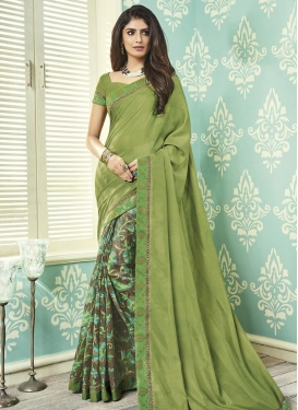 Grey and Olive Half N Half Trendy Saree For Casual