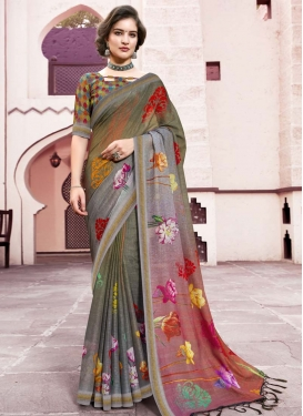 Grey and Olive Traditional Saree For Festival