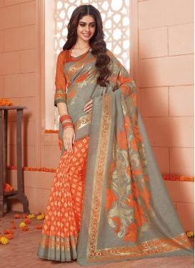 Grey and Orange Art Silk Half N Half Trendy Saree