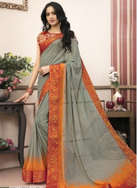 Grey and Orange Classic Saree For Casual