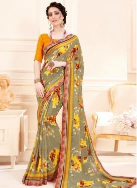 Grey and Orange Digital Print Work Designer Traditional Saree