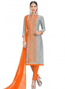Grey and Orange Pant Style Salwar Kameez For Casual