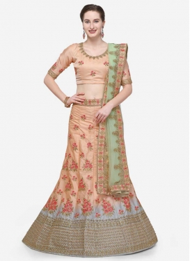 Grey and Peach A - Line Lehenga