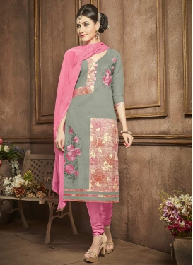 Grey and Pink Churidar Salwar Suit For Festival