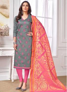 Grey and Pink Cotton Churidar Salwar Kameez