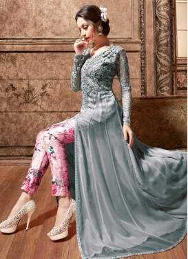 Grey and Pink Digital Print Work Pant Style Classic Suit