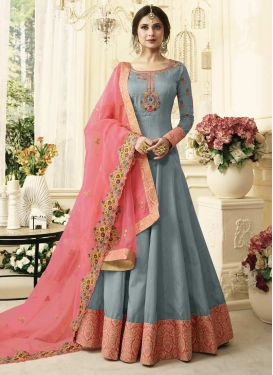 Grey and Pink Embroidered Work Long Length Anarkali Salwar Suit