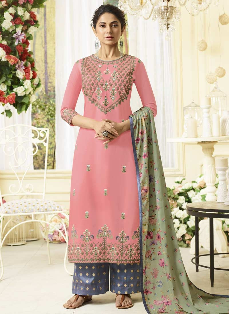Grey and Pink Embroidered Work Palazzo Style Pakistani Salwar Suit