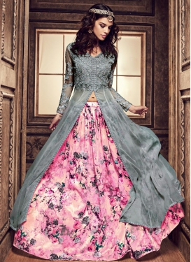 Grey and Pink Kameez Style Lehenga For Ceremonial