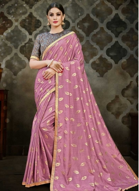 Grey and Pink Lace Work Designer Contemporary Style Saree