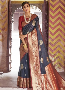 Grey and Red Art Silk Designer Contemporary Style Saree
