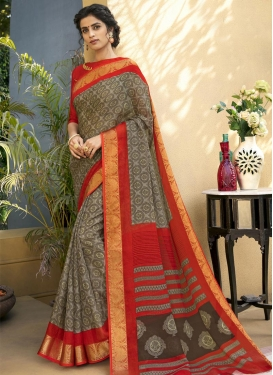 Grey and Red Art Silk Trendy Saree