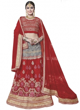 Grey and Red Booti Work Trendy Lehenga Choli