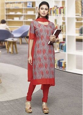 Grey and Red Churidar Salwar Kameez