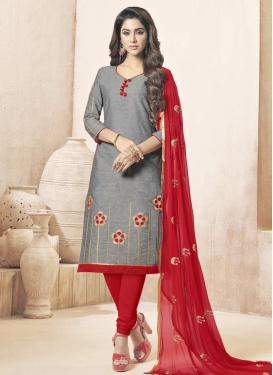 Grey and Red Churidar Salwar Kameez For Festival