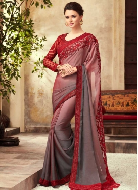 Grey and Red Classic Saree