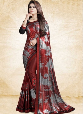 Grey and Red Classic Saree For Ceremonial