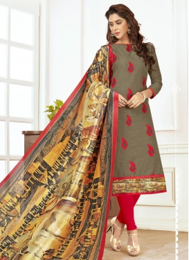 Grey and Red Cotton Trendy Churidar Salwar Suit