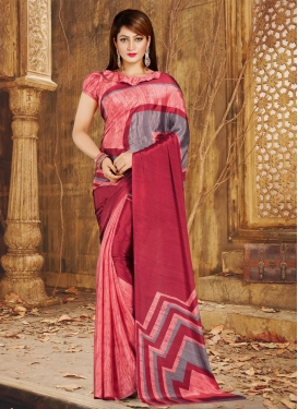 Grey and Red Crepe Silk Trendy Classic Saree