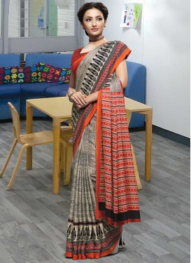 Grey and Red Designer Contemporary Style Saree