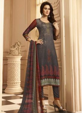 Grey and Red Digital Print Work Pant Style Salwar Kameez