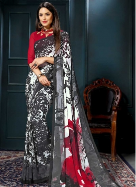 Grey and Red Digital Print Work Traditional Saree
