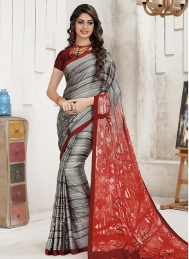 Grey and Red Digital Print Work Trendy Saree