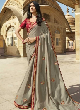 Grey and Red Embroidered Work Art Silk Trendy Classic Saree