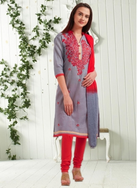 Grey and Red Embroidered Work Cotton Punjabi Churidar Salwar Kameez