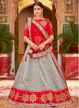 Grey and Red Jacquard Silk A Line Lehenga Choli For Festival