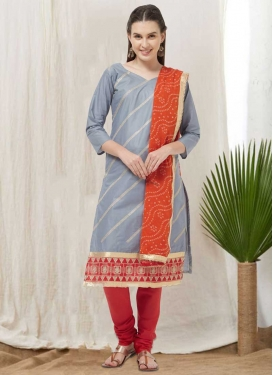 Grey and Red Lace Work Churidar Suit