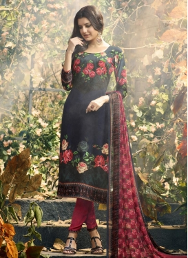 Grey and Red Pant Style Pakistani Salwar Kameez For Ceremonial