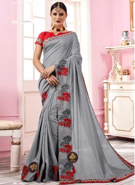 Grey and Red Satin Georgette Traditional Saree