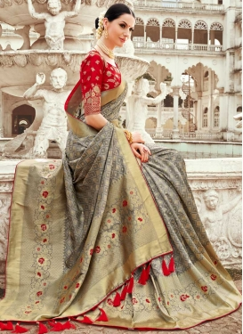 Grey and Red Thread Work Trendy Saree