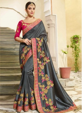 Grey and Rose Pink Art Silk Designer Contemporary Saree