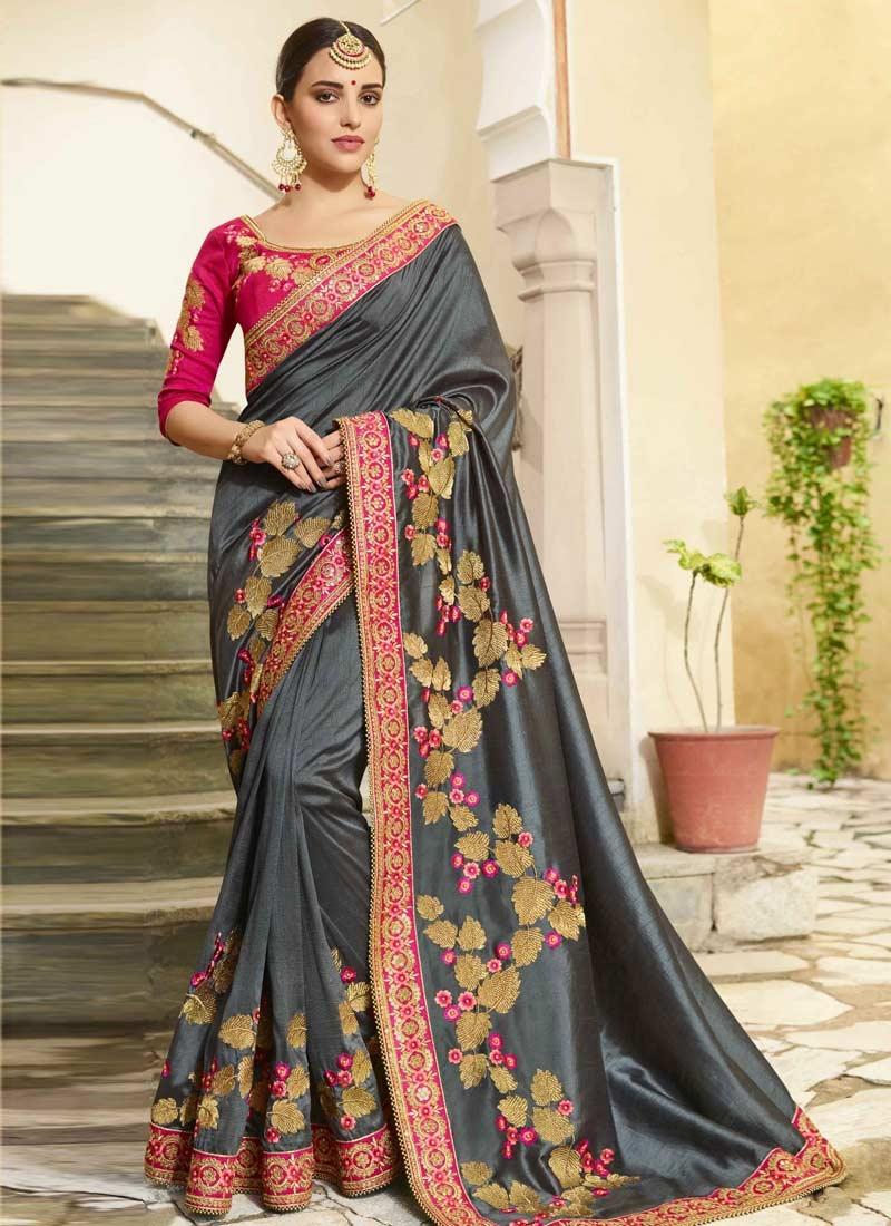 Grey and Rose Pink Art Silk Designer Contemporary Saree