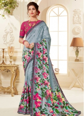 Grey and Rose Pink Art Silk Traditional Saree
