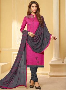 Grey and Rose Pink Cotton Trendy Churidar Salwar Suit