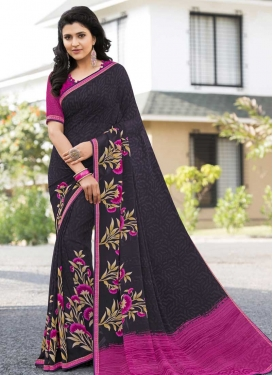 Grey and Rose Pink Designer Contemporary Saree