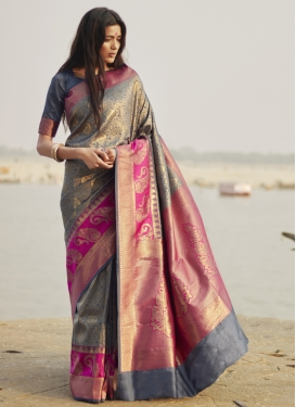 Grey and Rose Pink Designer Contemporary Style Saree