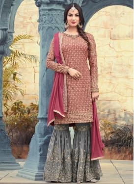 Grey and Rose Pink Designer Palazzo Salwar Kameez