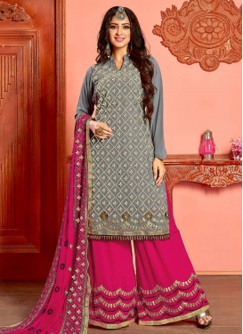 Grey and Rose Pink Designer Palazzo Salwar Suit