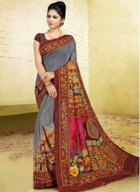 Grey and Rose Pink Digital Print Work Designer Contemporary Style Saree